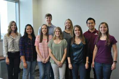 Fall 2015: Front row, left to right: Prof. Melissa Grunlan, Erica Gacasan, Dr. Melissa Hawkins, Kristen Means, Lindsay Woodard, Mikayla Barry. (Back row, left to right): Daniel Ehrhardt, Vanessa Page, Bryan Ngo